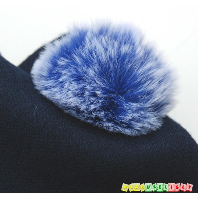 """Kepurė su mova rudeniui/žiemai """"Mėlyni bumbuliukai"""" 587"""