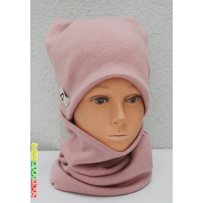 """Šilta kepurė vaikams su mova """"Rožinės pastelinės ausytės"""",  446"""