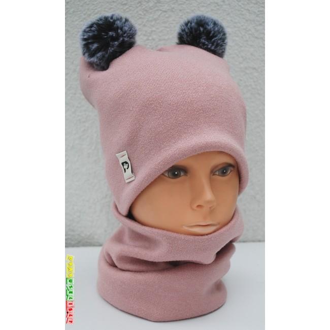"""Kepurė su mova mergaitei rudeniui/žiemai """"Pastelinė su bumbulais"""", 991"""
