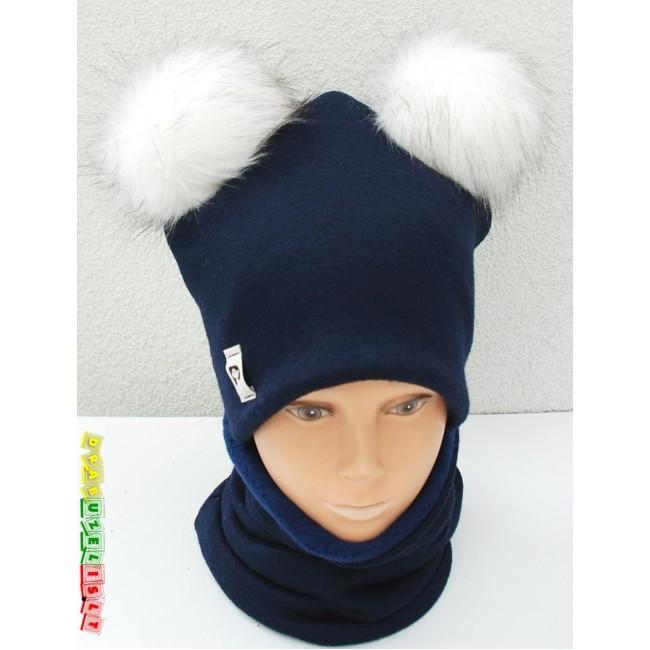 """Šilta Kepurė su kaklo mova berniukui žiemai """"Šilta mėlyna su bumbulais"""", 812"""