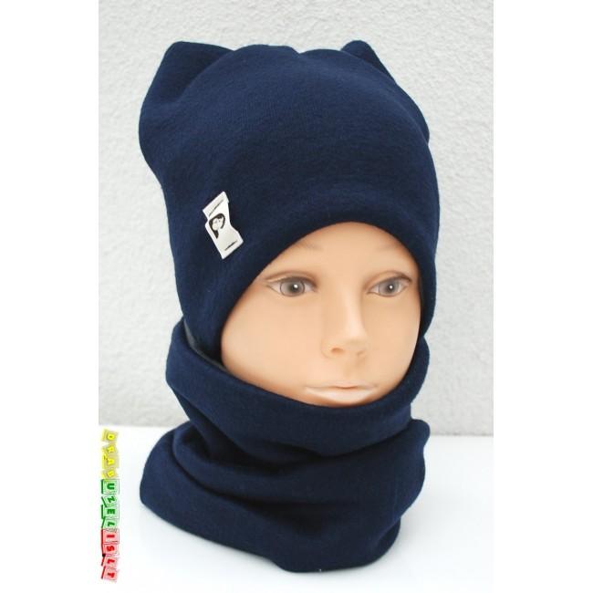"""Kepurė su mova rudeniui/žiemai """"Mėlynos ausytės"""", 894"""