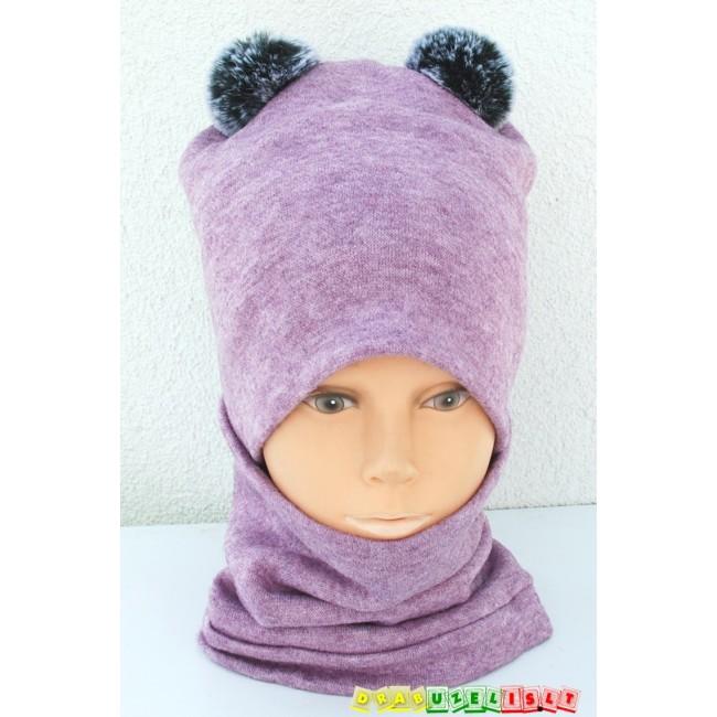 """Kepurė su mova mergaitei rudeniui/žiemai """"Purpurinė su bumbulais"""", 987"""