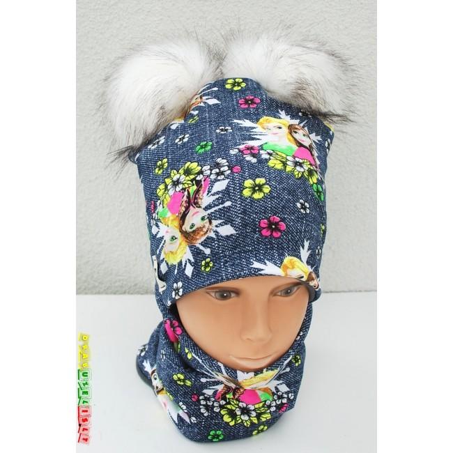 "Kepurė sukaklo mova mergaitei rudeniui/žiemai ""Ledo šalis"", 811"
