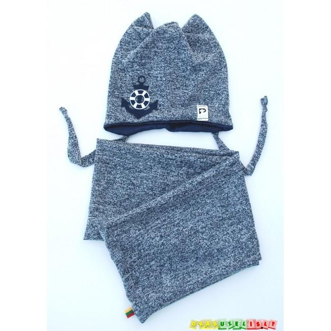 """Kepurė su mova mažiausiems """"Pilkai marga"""", 349"""