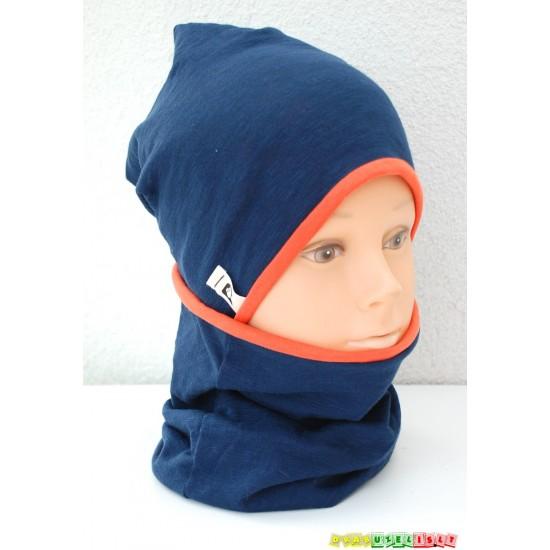 "Kepurė vaikui su mova pavasariui/rudeniui ""Mėlyna su oranžine"", 621"