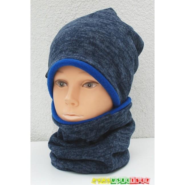"Šilta kepurė su mova rudeniui/žiemai ""Mėlyna"", 505"