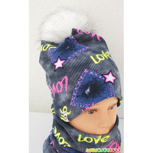 "Šilta kepurė su kaklo mova mergaitei rudeniui/žiemai ""Love"", 988"
