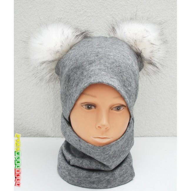 """Kepurė su mova vaikui rudeniui/žiemai """"Pilka su baltais bumbulais"""", 290"""