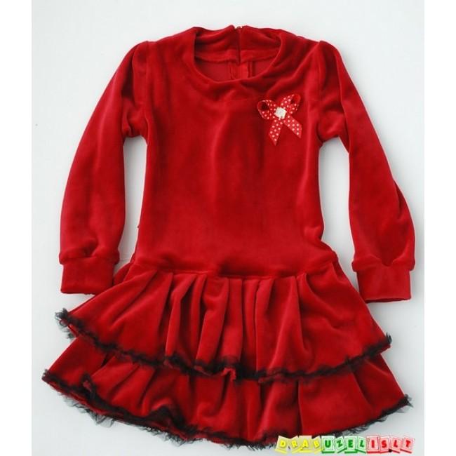 """Puošni veliūrine suknelė mergaitei """"Bordo"""", 551"""