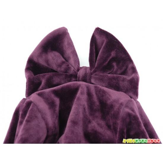 """Kepurė - šalmukas pavasariui/rudeniui """"Veliūrinis violetinis kaspinėlis"""", 980"""
