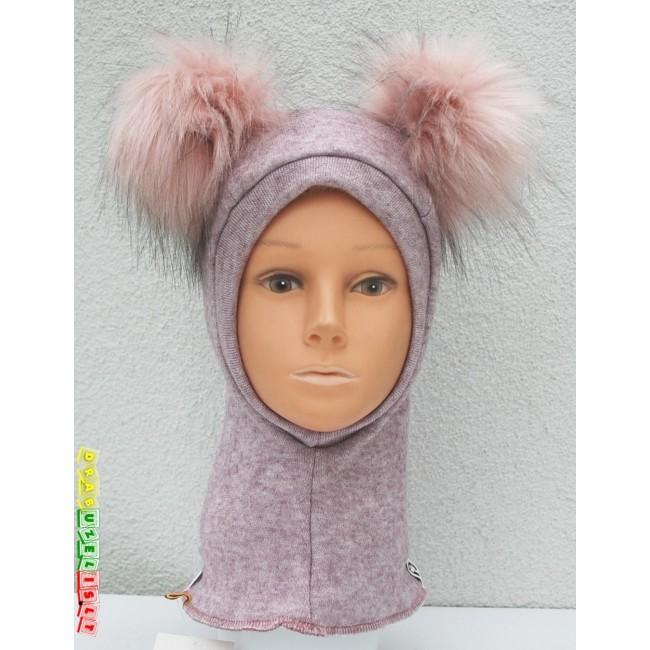"""Šalmukas mergaitei rudeniui/žiemai """"Alyvinis su rožiniais bumbulais"""", 554"""