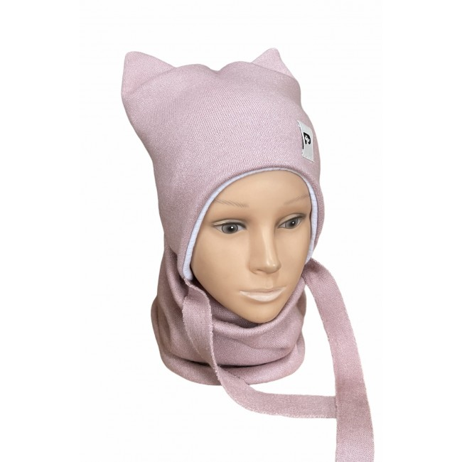 """Kepurė su raišteliais ir mova rudeniui/žiemai """"Pinky"""", 619"""