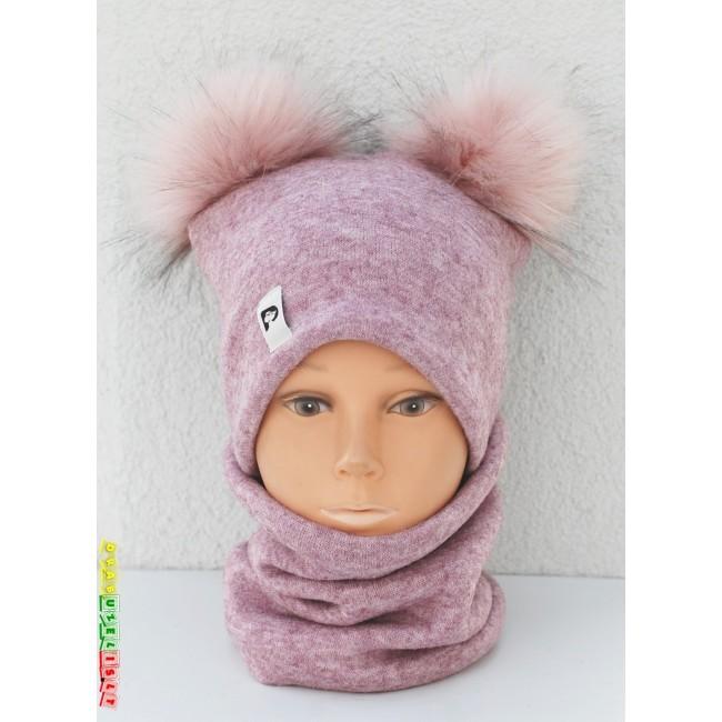 """Kepurė su mova mergaitei rudeniui/žiemai """"Purpurinė su rožiniais bumbulais"""", 637"""