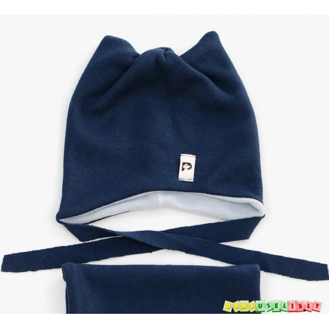 """Kepurė su raišteliais ir mova vaikams rudeniui/žiemai """"Tamsiai mėlyna"""",  595"""