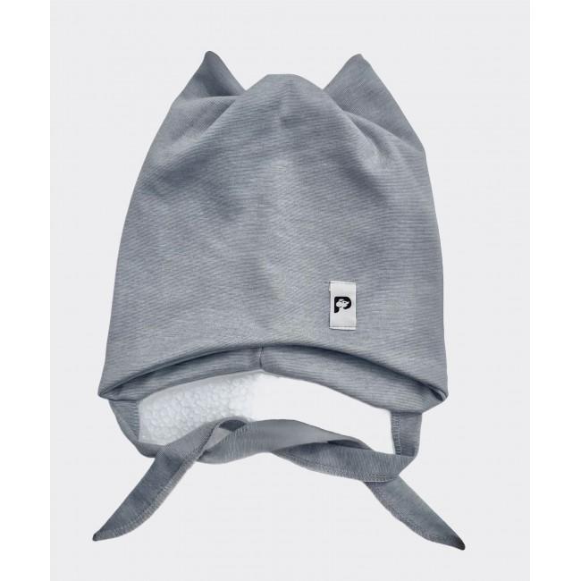 """Kepurė su raišteliais ir kaklaskare """"Pilka"""", 857"""