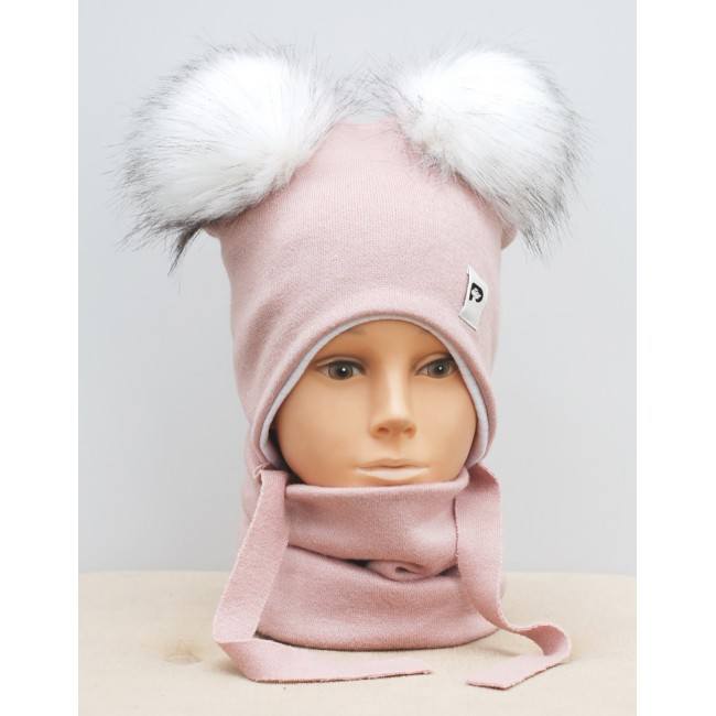 """Kepurė su raišteliais ir mova rudeniui/žiemai """"Pink su bumbulais"""", 635"""