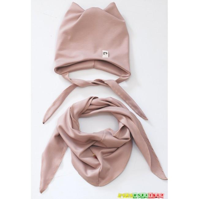 """Kepurė su raišteliais ir kaklaskare pavasariui/rudeniui """"Pelenų rožė"""", 380"""