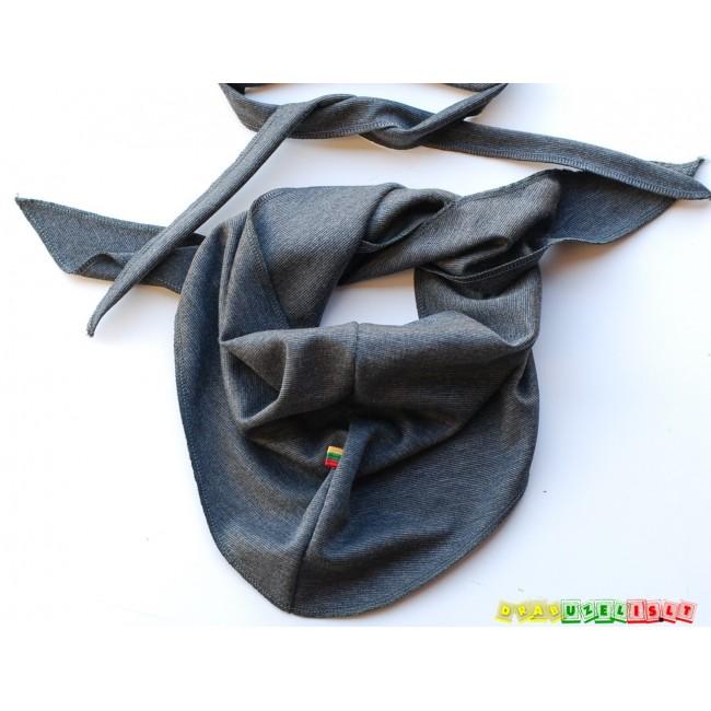 """Kepurė su raišteliais ir kaklaskare pavasariui/rudeniui """"Tamsiai pilka"""", 394"""