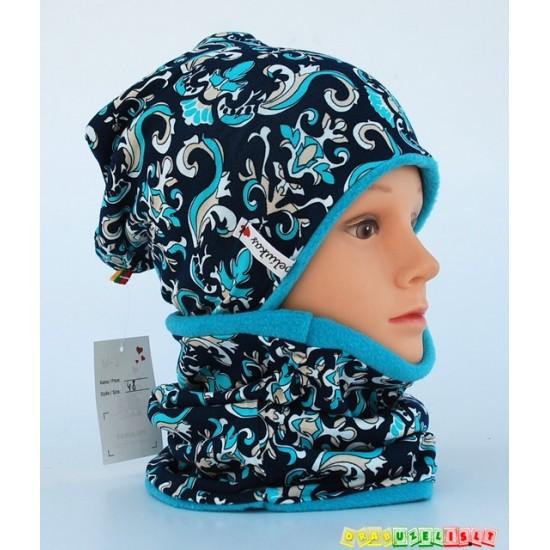 """Šilta vaikiška kepurė su mova """"Ledinės gėlės"""", 356"""