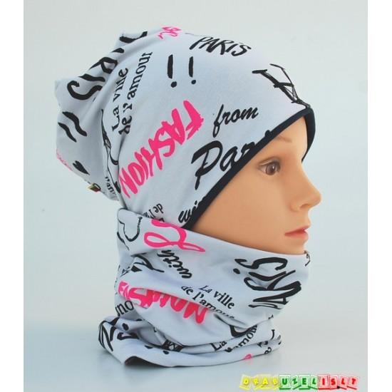 """Kepurė + kaklo mova rudeniui mergaitei """"Love Paris"""", 761"""