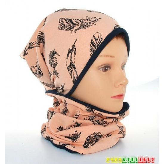 "Kepurė mergaitei su mova rudeniui ""Plunksnos"", 291"