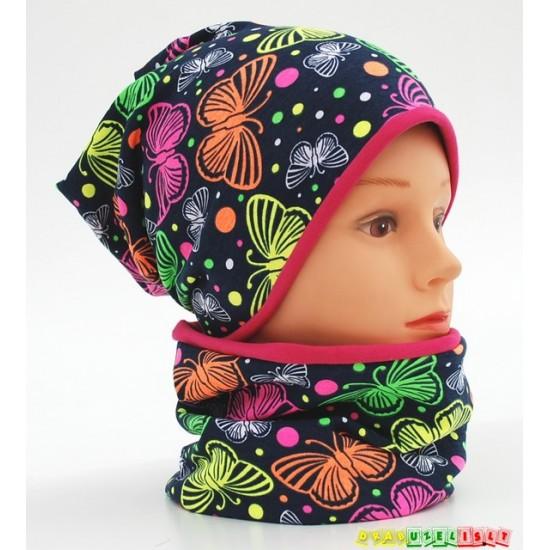 """Kepurė + kaklo mova rudeniui mergaitei """"Margi drugeliai"""", 416"""