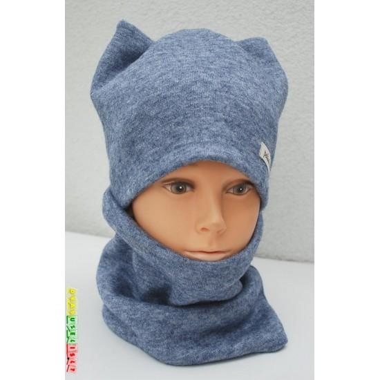 """Šilta Kepurė žiemai, su mova """"Džinsinės ausytės"""" 254"""