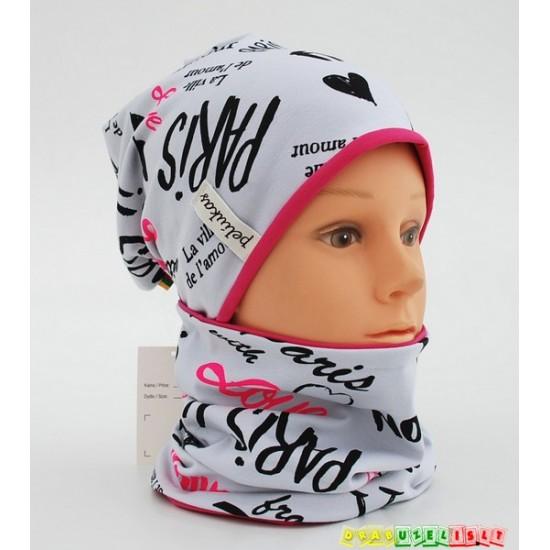 """Kepurė + kaklo mova pavasariui rudeniui """"Pink Paris"""", 844"""
