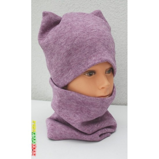 """Šilta vaikiška kepurė su šalikėliu/mova """"Purpurinės ausytės"""", 139"""