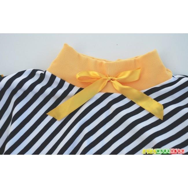"""Juodai baltas sijonas mergaitei """"Geltonas kaspinėlis"""", 874"""
