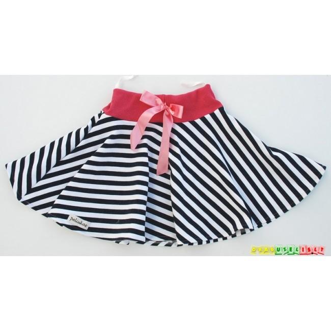 """Juodai baltas sijonas mergaitei """"Rožinis kaspinėlis"""", 875"""