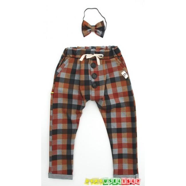 """Vaikiškos harem tipo kelnės su peteliške """"Rudi langeliai"""", 933"""