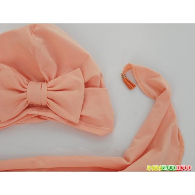 """Kepurė su kaklaskare pavasariui-vasarai """"Persikinis kaspinėlis"""", 860"""