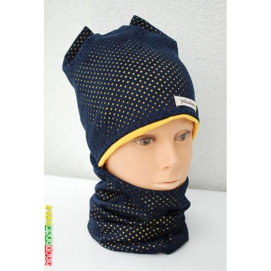 """Vaikiška kepurė su mova rudeniui mergaitei """"Geltonas kaspinėlis"""", 278"""