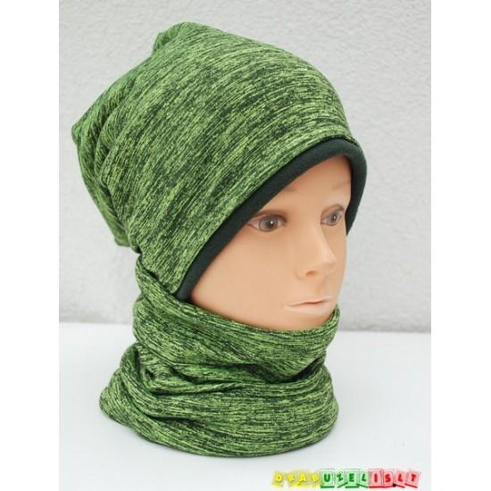 """Šiltos žieminės movos ir kepurės derinukas """"Žali dryžiukai"""", 357"""