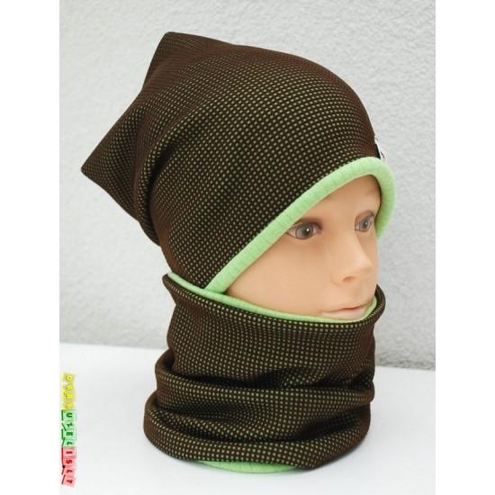 "Kepurė vaikui su mova rudeniui/žiemai ""Žalia"", 583"