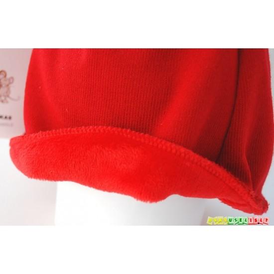 """Šiltas šalmukas vaikui žiemai """"Raudonas su auksinėmis ausytėmis"""", 784"""