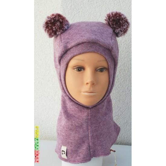 """Šiltas šalmukas vaikui žiemai """"Purpurinis su bumbulais"""", 938"""
