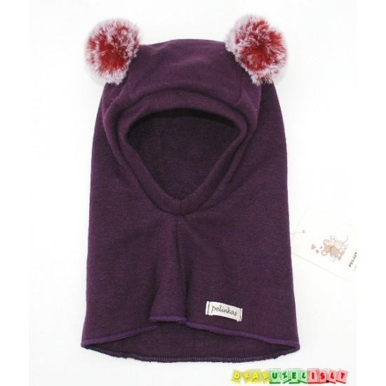 """Šiltas šalmukas vaikui žiemai """"Tamsiai violetinis su bumbulais"""", 947"""