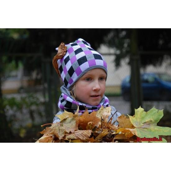 """Kepurė su mova vaikams rudeniui """"Šviesūs langeliai"""", 279"""